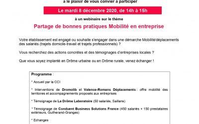 """Webinaire """"Partage de bonnes pratiques Mobilité en entreprise"""" – 8 Décembre 2020 de 14h à 15h"""